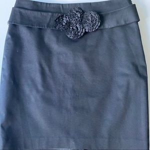 The Limited Black Skirt With Flower Belt